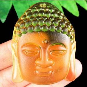Huge Carved Yellow Crystal Buddha Head Pendant.